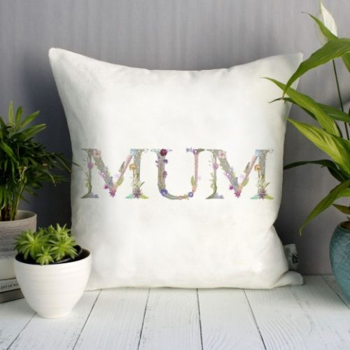 Floral Letter Mum Cushion - Personalised Gift