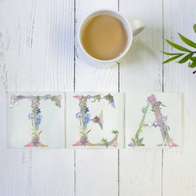 Floral Letter Tea Glass Coaster Set - Personalised Gift