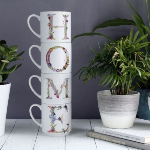 Floral Lettering Home Stacking Mugs - Personalised Gift