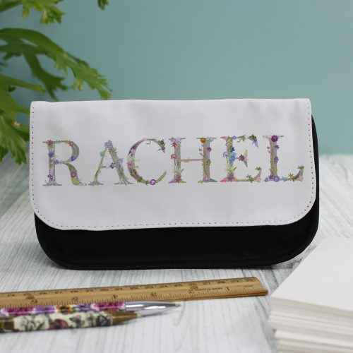 Floral Lettering Kids Arts Pencil Case - Personalised Gifts