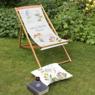 Mums Garden Flowers | Personalised Wood Deckchair, Garden Seating