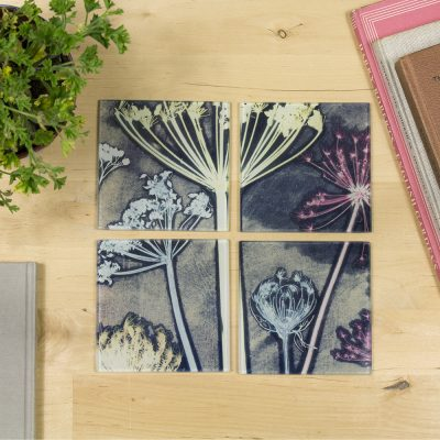 Friary Meadow | Yellow & Blue Set of Glass Coasters