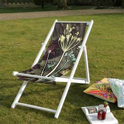 Friary Meadow | White & Brown Wood Deckchair, Outdoor Furniture