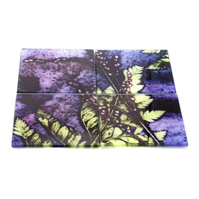 Plum Fern | Purple & Green Set of Glass Coasters