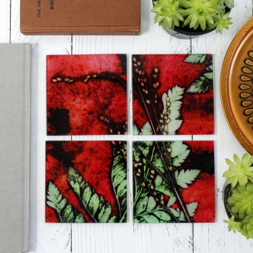 Strawberry Fern | Red & Green Set of Glass Coasters