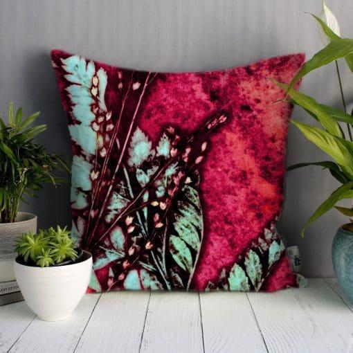 Strawberry Fern | Green & Red Sofa Cushion Bold Design