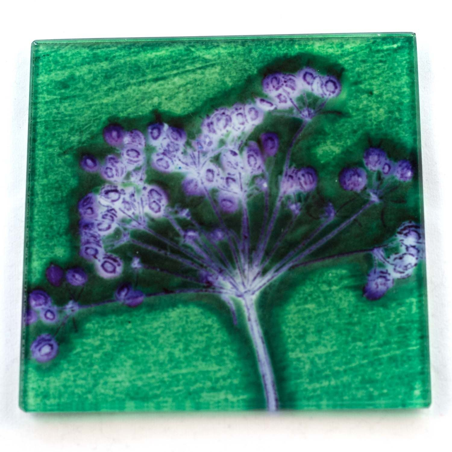 Green Joyous Spread Botanic Style Glass Coaster