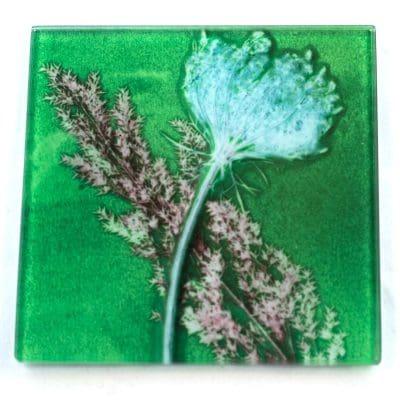 Green Layers Botanic Style Glass CoasterGreen Layers Botanic Style Glass Coaster