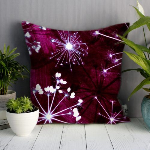 Space Cow Parsley | White & Burgundy Sofa Cushion Bold Design