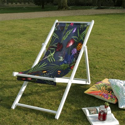 Indigo Tropical | Green & Blue Wood Deckchair, Garden Furniture