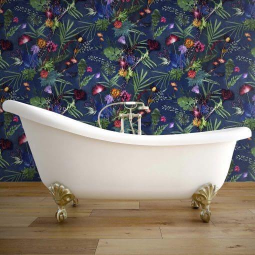 Indigo Tropical   Green & Blue Designer Wallpaper, Tropical Style