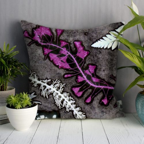 Magenta Heart Grass | Charcoal & Pink Sofa Cushion Bold Design