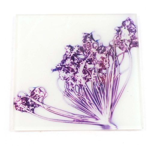 Lilac Fennel Love White Botanic Style Glass Coaster
