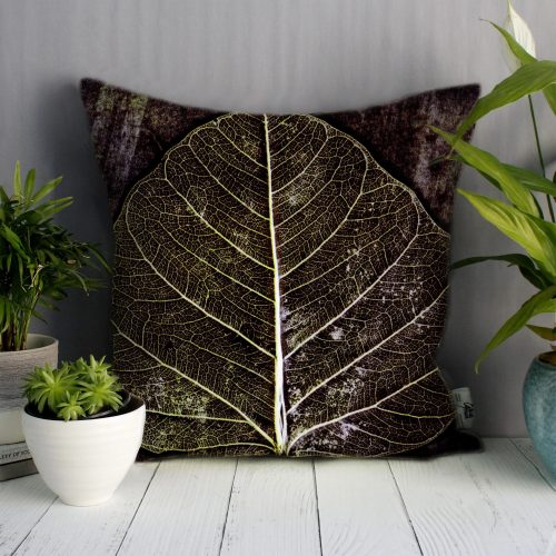 Midnight Skeletal Leaves | Brown & White Sofa Cushion Country Style
