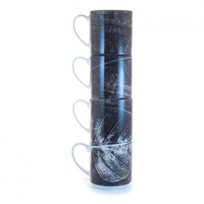 Skeletal Leaves | Monochrome Stacking Mug, Gift Set of 4