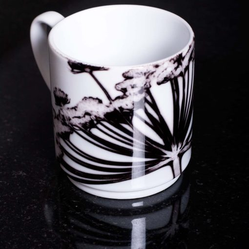 Monochrome Cow Parsley Head Ceramic Mug - Home and Kitchen Accessory