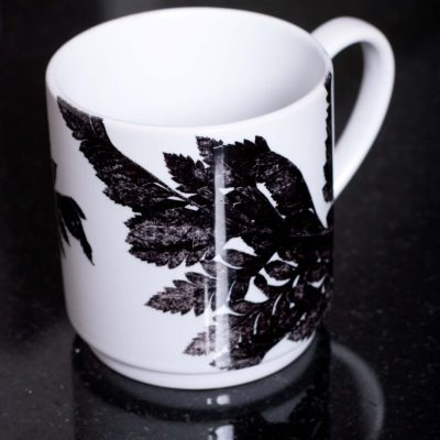Monochrome Ferns Ceramic Mug - Home and Kitchen Accessory