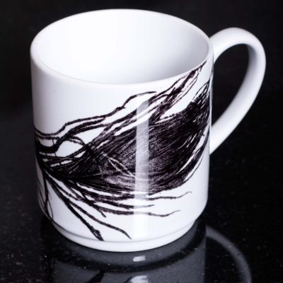 Monochrome Peacock Ceramic Mug - Home and Kitchen Accessory