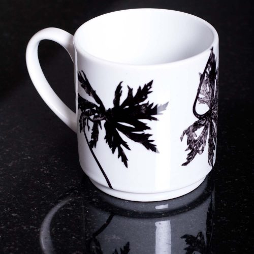 Monochrome Star Leaves Ceramic Mug - Home and Kitchen Accessory