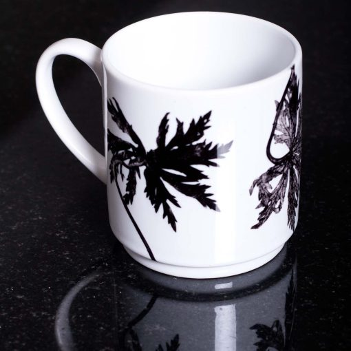 Monochrome Star Leaves Ceramic Mug - Home and Kitchen Accessory