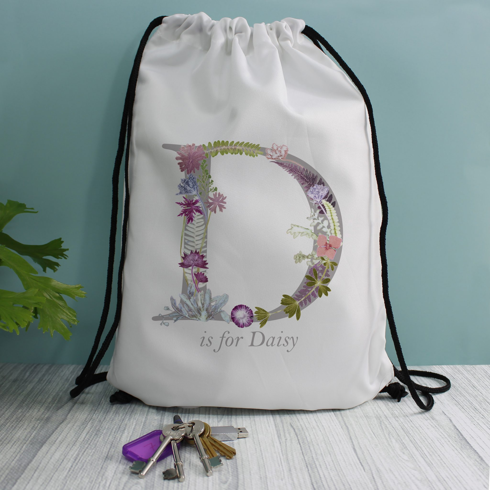 Kids Personalised Floral Drawstring Bag | Gillian Arnold