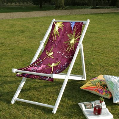 Pink Thistle | Green & Pink Wood Deckchair, Garden Furniture