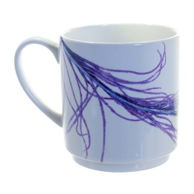 Purple Peacock Feather Ceramic Mug - Home and Kitchen Accessory