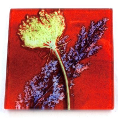 Red Layers Botanic Style Glass Coaster