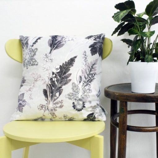 Winter Flourish | Black & White Sofa Cushion Country Style