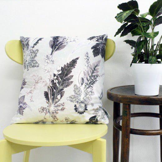 Winter Flourish | Black & White Sofa Cushion Country Style