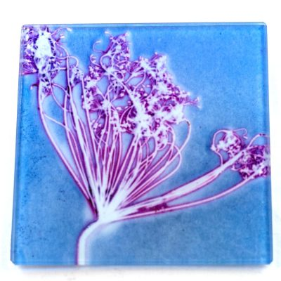 Soft Fennel Love Blue Botanic Style Glass Coaster