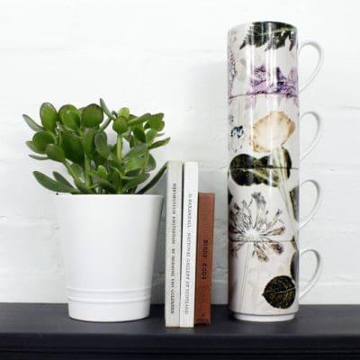 Bridal Bouquet | Green & White Stacking Mug, Gift Set of 4