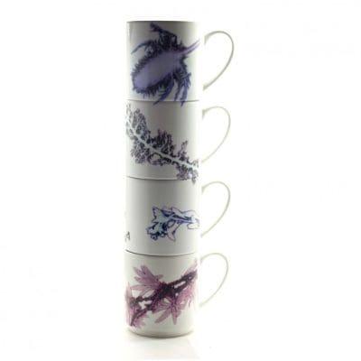 Grasses in White   Purple & White Stacking Mug, Gift Set of 4