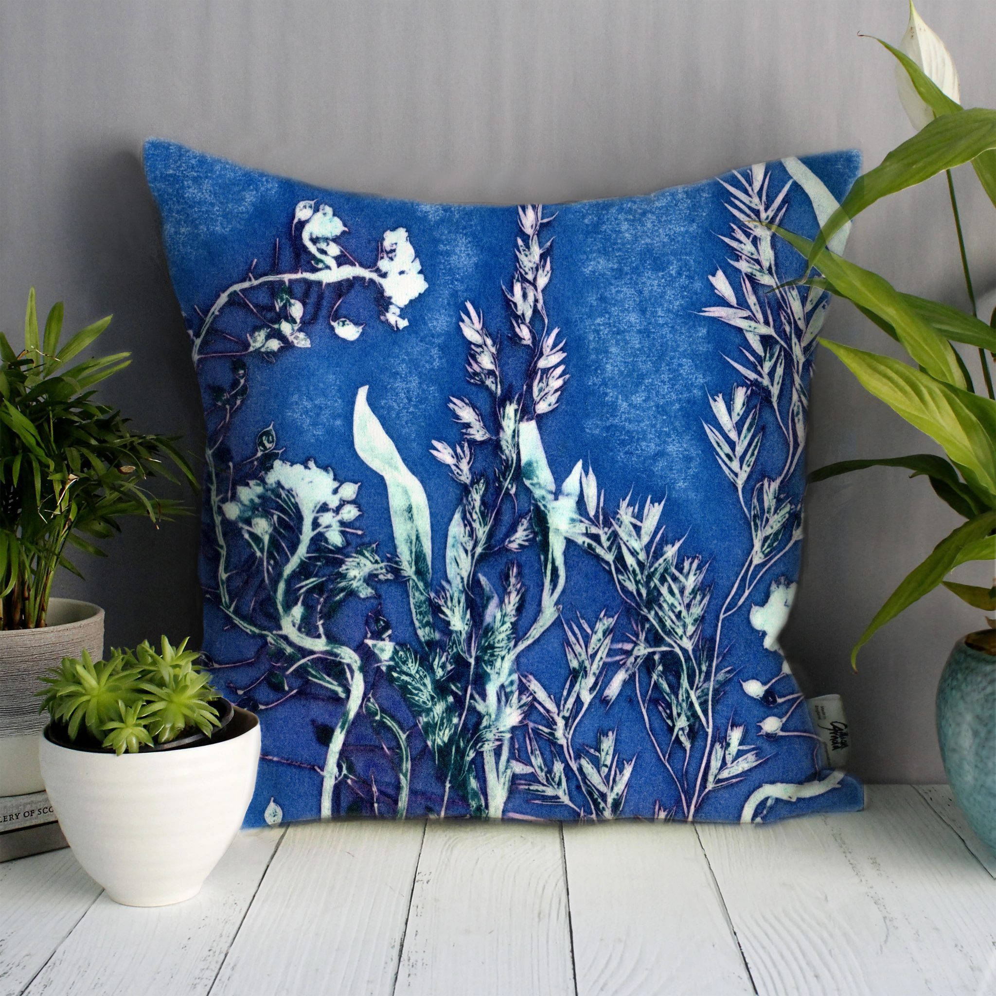 Blue Landscape | Green & Blue Sofa Cushion Country Style