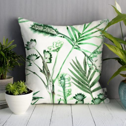 Hot House Fronds | Green & White Sofa Cushion Bold Design