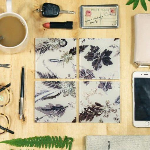 Winter Flourish | Black & White Set of Glass Coasters