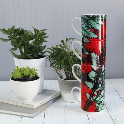 Strawberry Fern | Red & Green Stacking Mug, Gift Set of 4