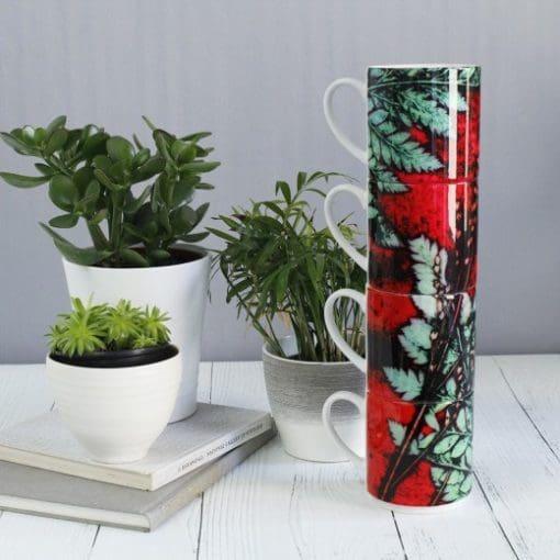 Strawberry Fern   Red & Green Stacking Mug, Gift Set of 4