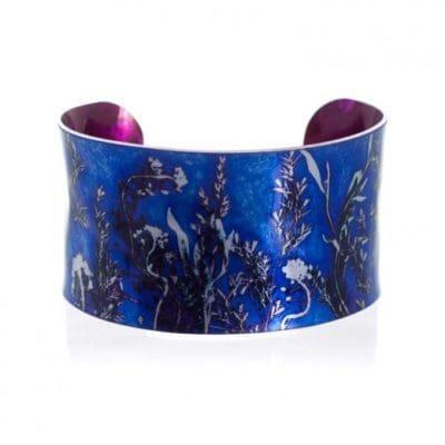 Stylish Blue Landscape Aluminium Cuff Jewellery Gift
