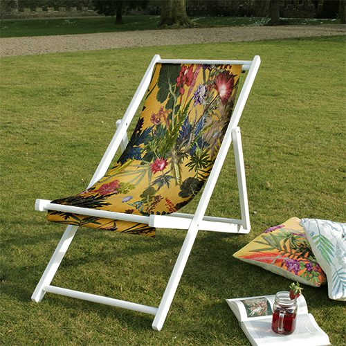 Summer Tropics | Green & Yellow Wood Deckchair, Outdoor Furniture
