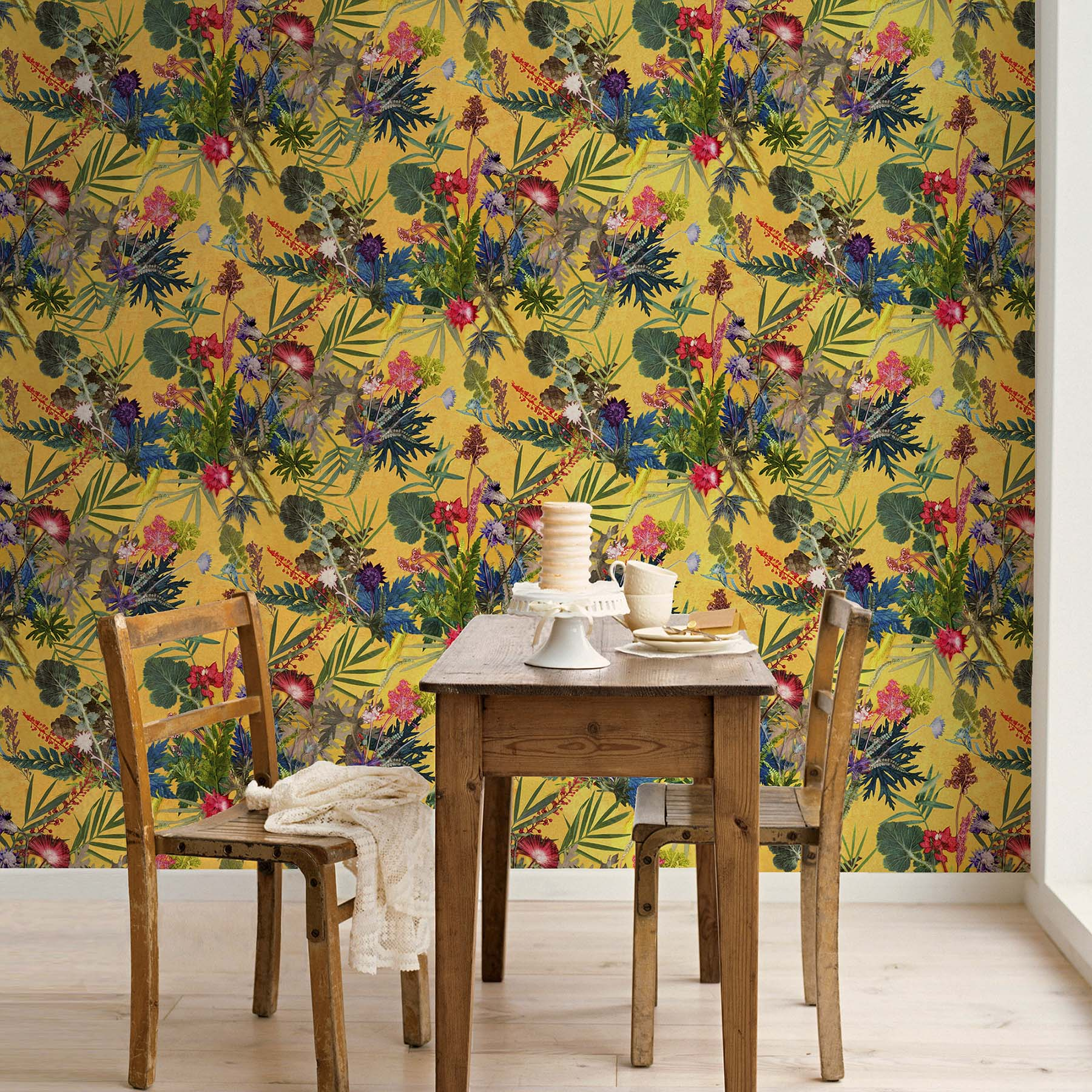 Summer Tropics | Green & Yellow Designer Wallpaper, Tropical Style