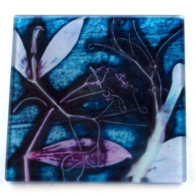 Sweet Purple Curves Botanic Style Glass Coaster