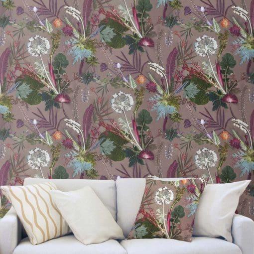 Tropical Dusk | White & Green Designer Wallpaper, Tropical Interior
