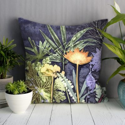 Midnight Jungle 1 | Green & Blue Sofa Cushion Tropical Interior