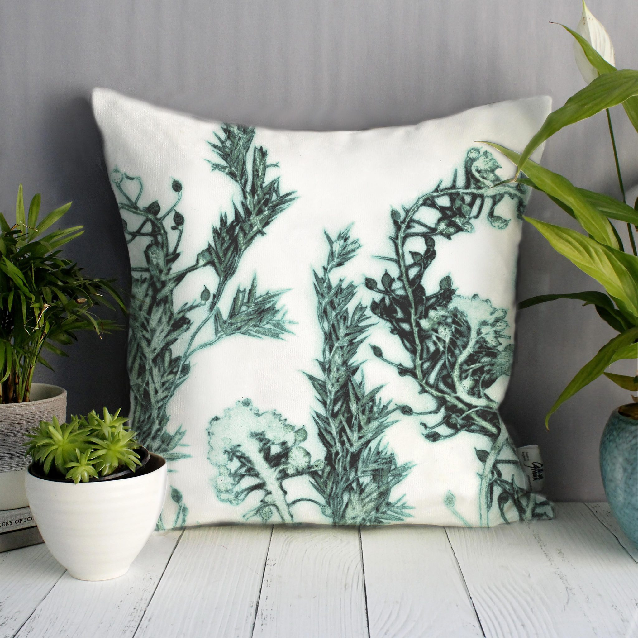 Green Landscape | White & Green Sofa Cushion Country Style
