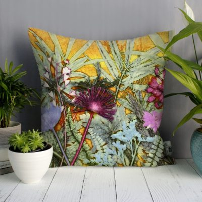 Tropical Sunshine 1 | Yellow & Pink Sofa Cushion Tropical Interior