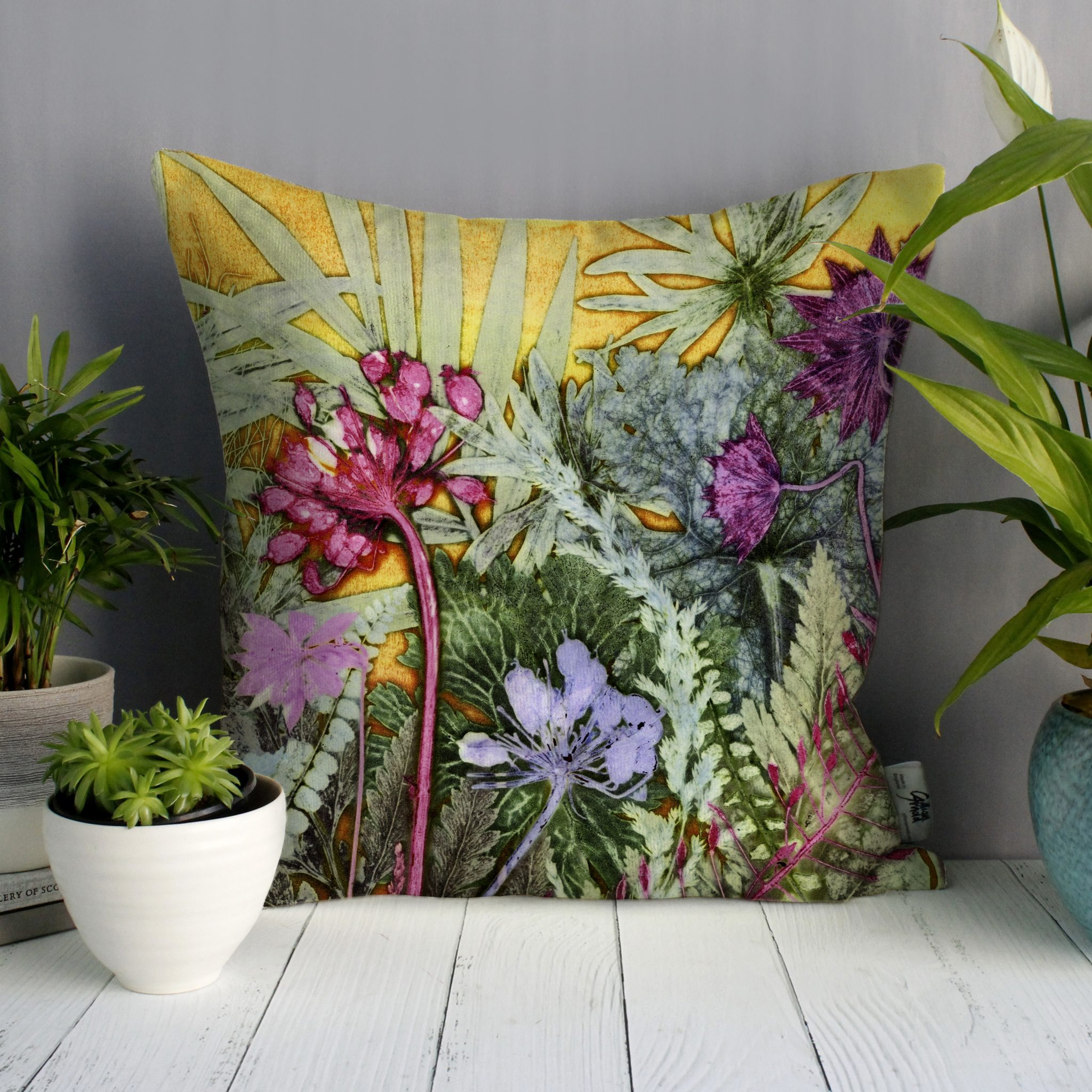Tropical Sunshine 2 | Pink & Yellow Sofa Cushion Tropical Interior