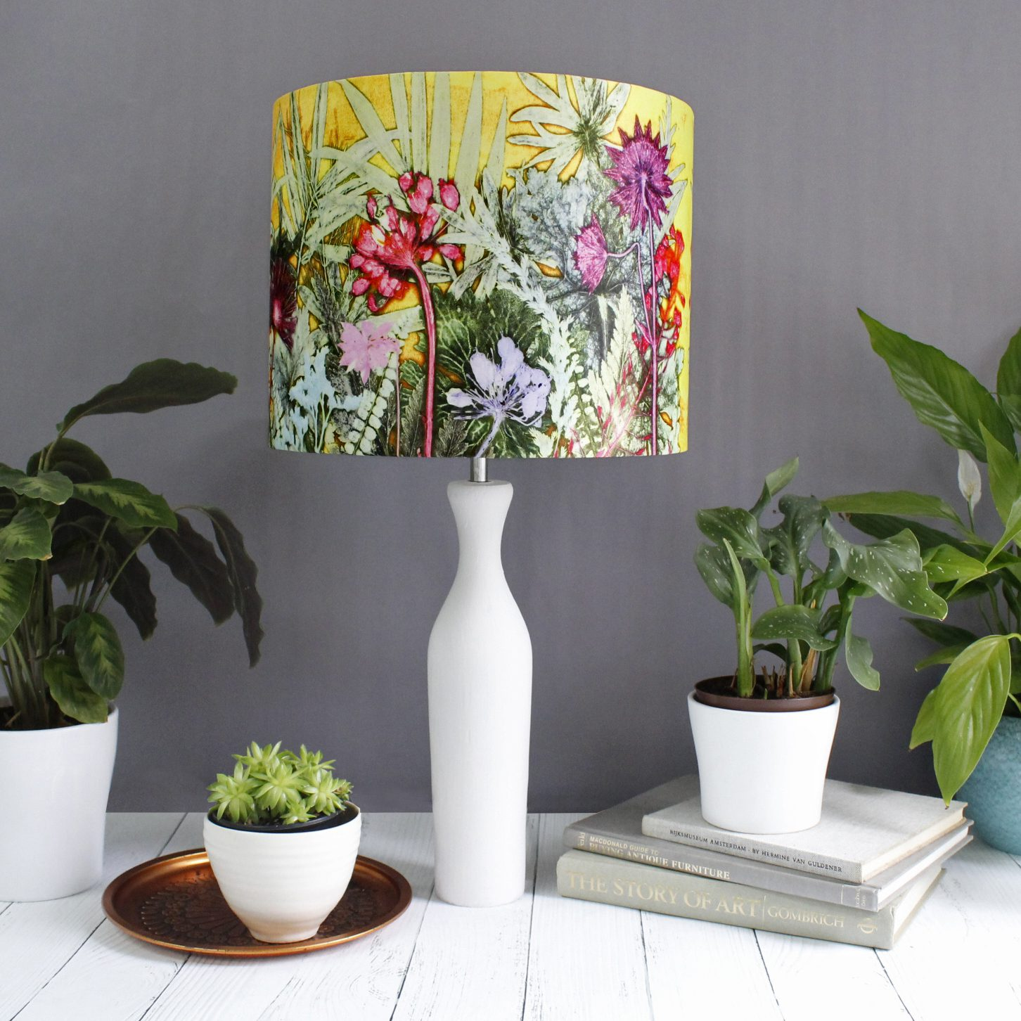 Tropical sunshine yellow pink lamp shade for the for Living room lamp shades