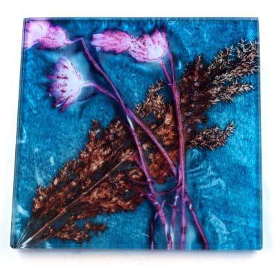 Turquoise Grass Botanic Style Glass Coaster