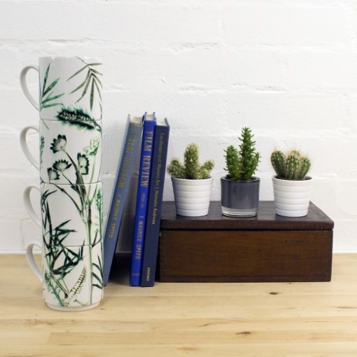 Hot House Fronds | White & Green Stacking Mug, Gift Set of 4